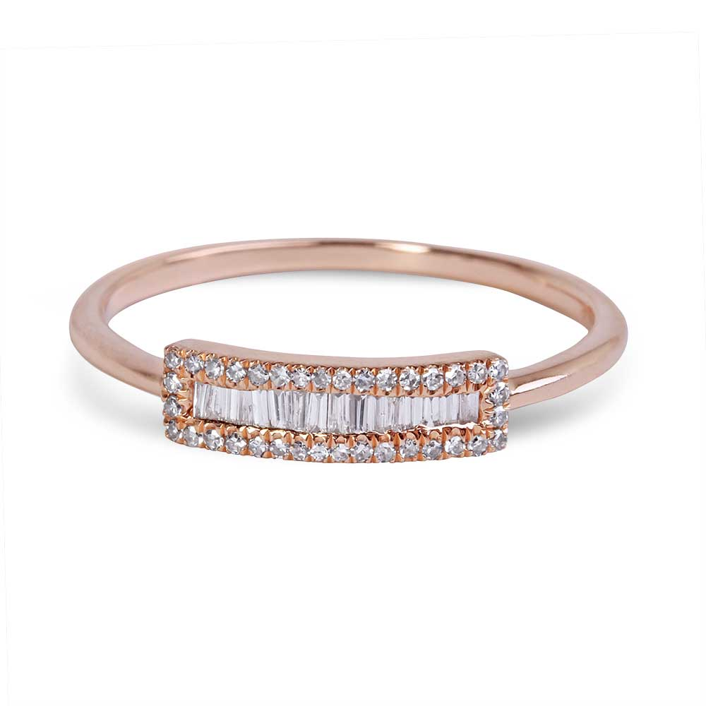 Baguette Diamond Ring with Pave Diamond Border