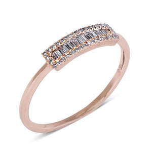 Gold and Baguette Diamond Ring with Pave Diamond Border