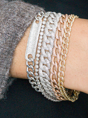 CHAIN LINK DIAMOND ID BRACELET