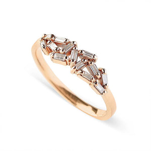 14K GOLD HALF CHAOS BAGUETTE DIAMOND RING
