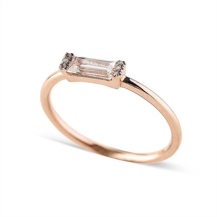 14K GOLD AND DIAMOND WITH BAGUETTE TOPAZ RING