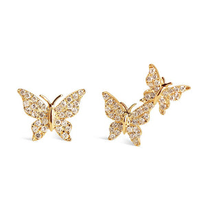 ASYMMETRICAL DIAMOND BUTTERFLY STUDS
