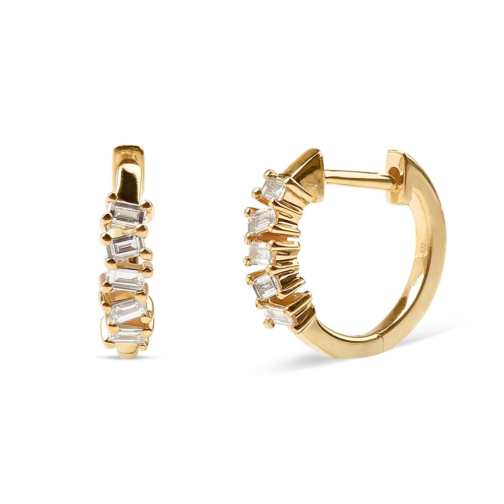 GOLD BAGUETTE DIAMOND HUGGIE EARRINGS