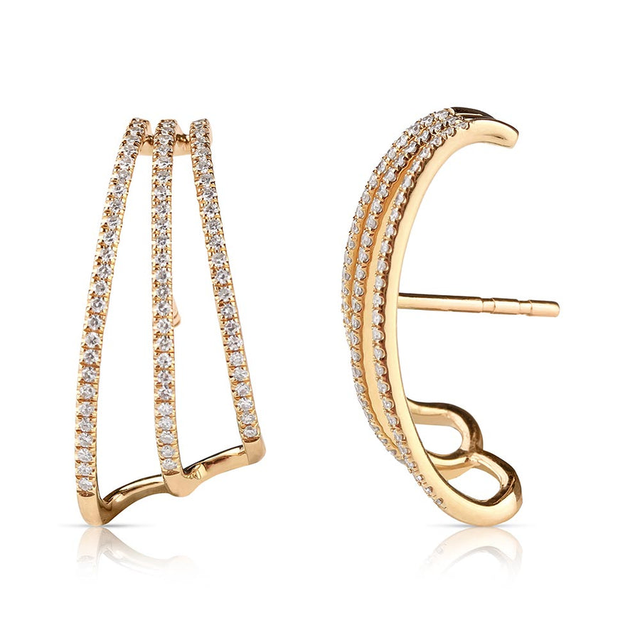 Diamond Triple Band Earrings