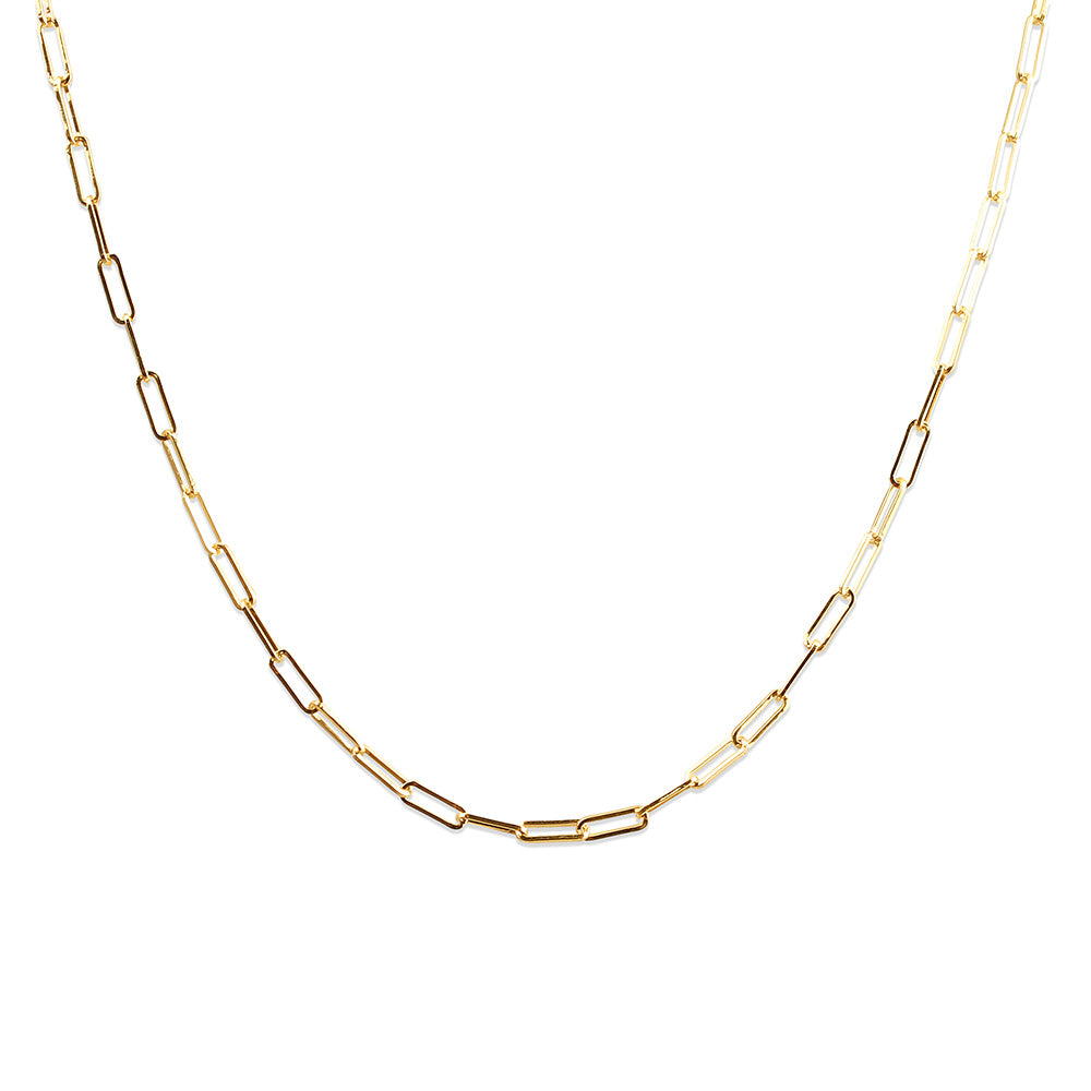 14K GOLD MINI PAPERCLIP CHAIN