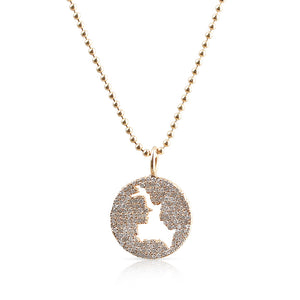 14K GOLD DIAMOND LAKE ROSSEAU CHARM ON BALL CHAIN CHAIN