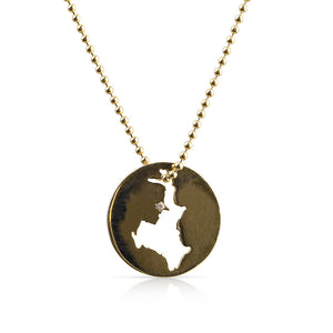 14K SOLID GOLD LAKE ROSSEAU CHARM WITH DIAMOND ON BALL CHAIN