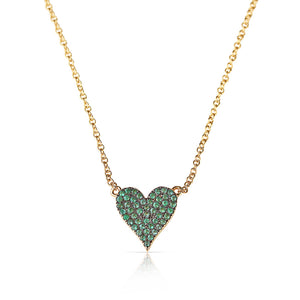 GOLD EMERALD HEART NECKLACE