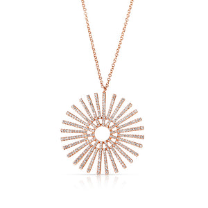 DIAMOND ROSE GOLD SUNDIAL NECKLACE