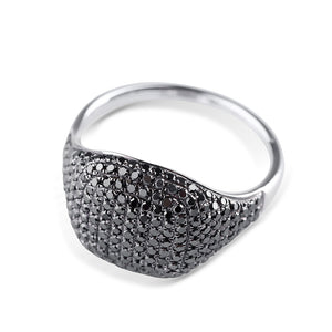 BLACK DIAMOND WHITE GOLD SIGNET RING