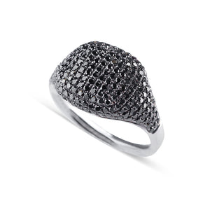 BLACK PAVE DIAMOND SIGNET RING