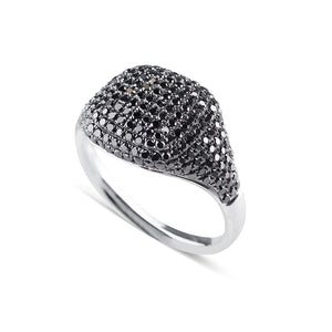 BLACK PAVE DIAMOND SIGNET RING IN WHITE GOLD