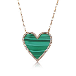 MALACHITE AND DIAMOND HEART NECKLACE