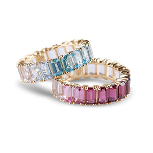 BLUE AND PINK OMBRE TOPAZ EMERALD CUT ETERNITY BAND