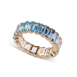 BLUE OMBRE AQUAMARINE EMERALD CUT TOPAZ ETERNITY BAND