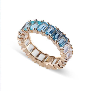 OMBRE TOPAZ AQUAMARINE EMERALD CUT ETERNITY BAND
