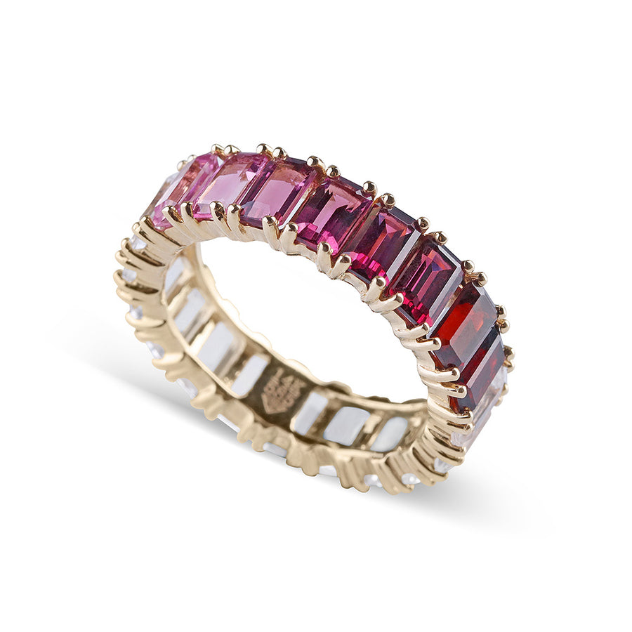 PINK OMBRE EMERALD CUT TOPAZ ETERNITY BAND