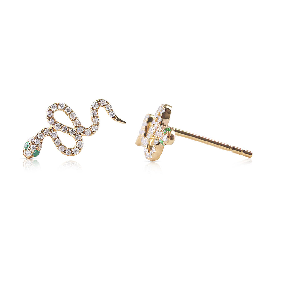DIAMOND AND EMERALD SNAKE EARRINGS