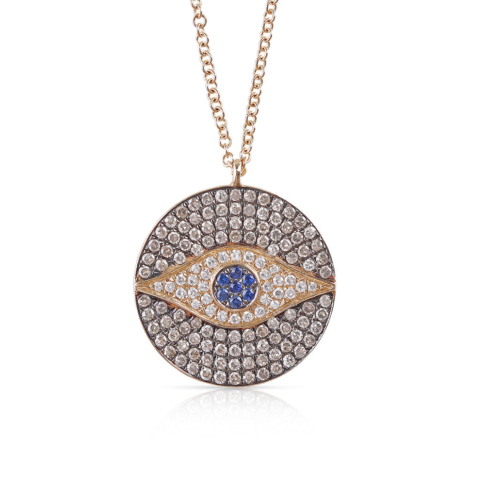 DIAMOND AND SAPPHIRE EVIL EYE MEDALLION NECKLACE