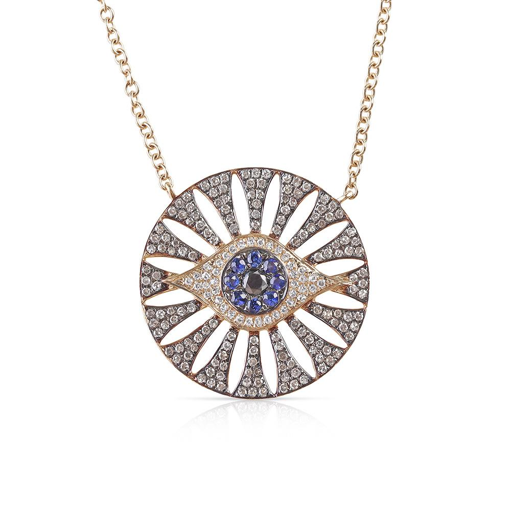 DIAMOND AND SAPPHIRE EVIL EYE MEDALLION WITH CUT OUTS