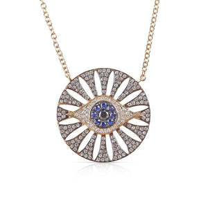 DIAMOND AND SAPPHIRE EVIL EYE MEDALLION