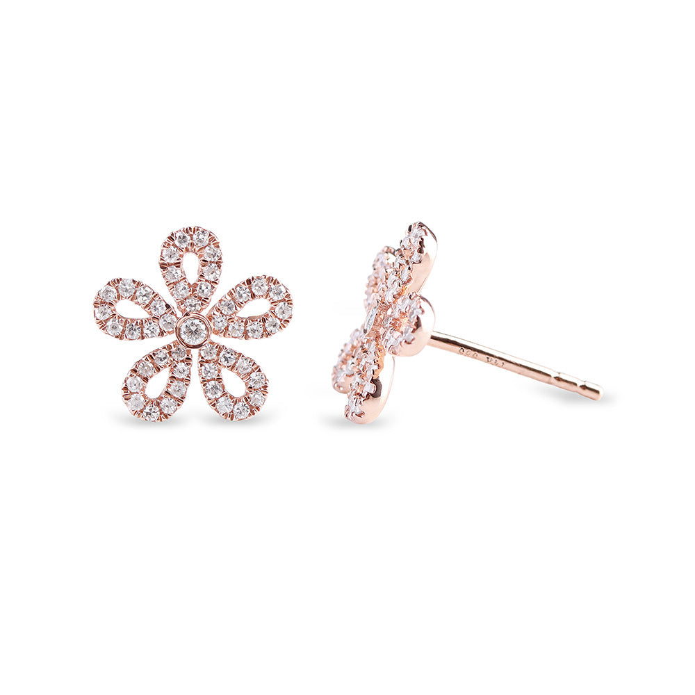 14k GOLD DIAMOND FLOWER STUDS