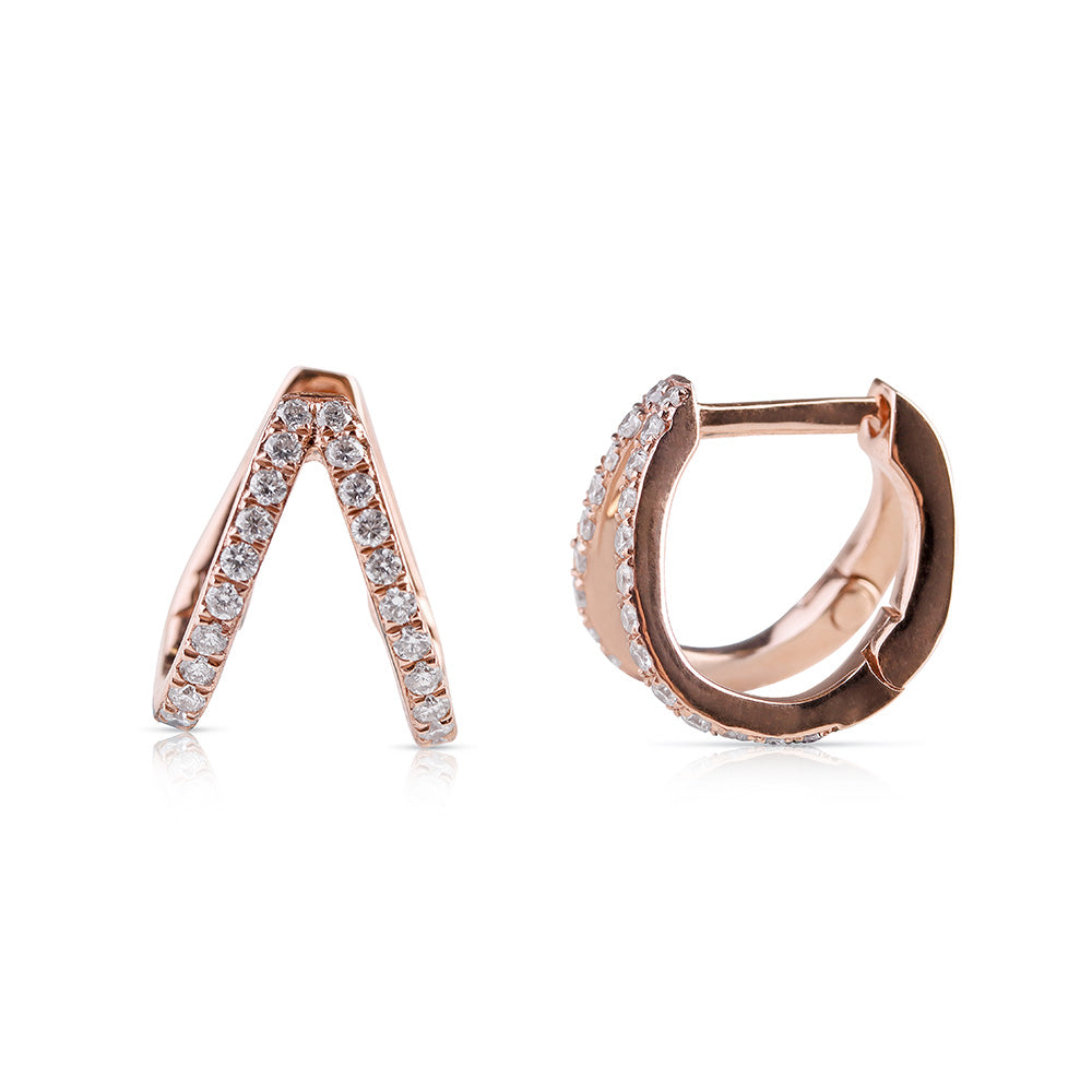 DIAMOND CLAW HUGGIE EARRINGS