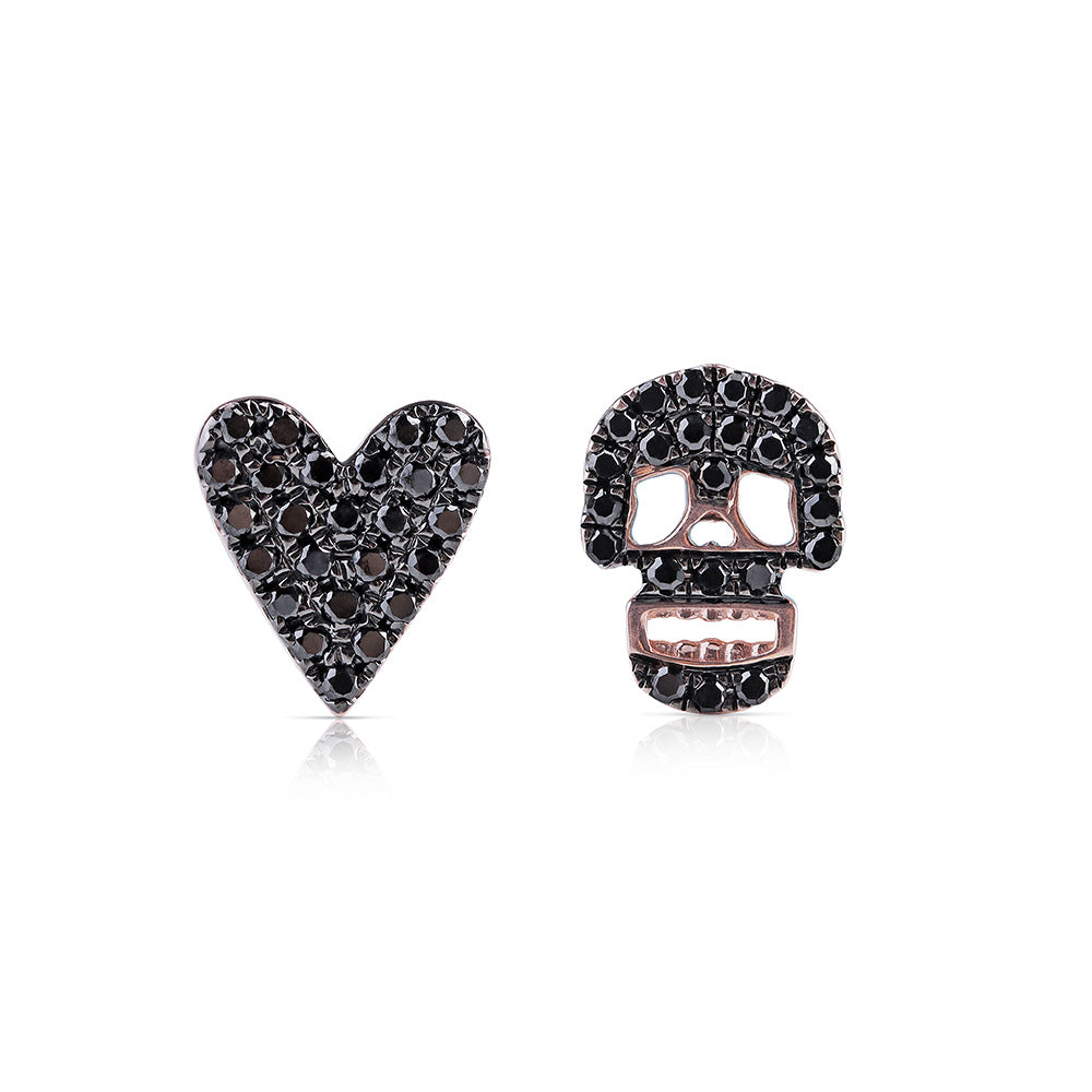 BLACK DIAMOND SKULL AND HEART EARRINGS