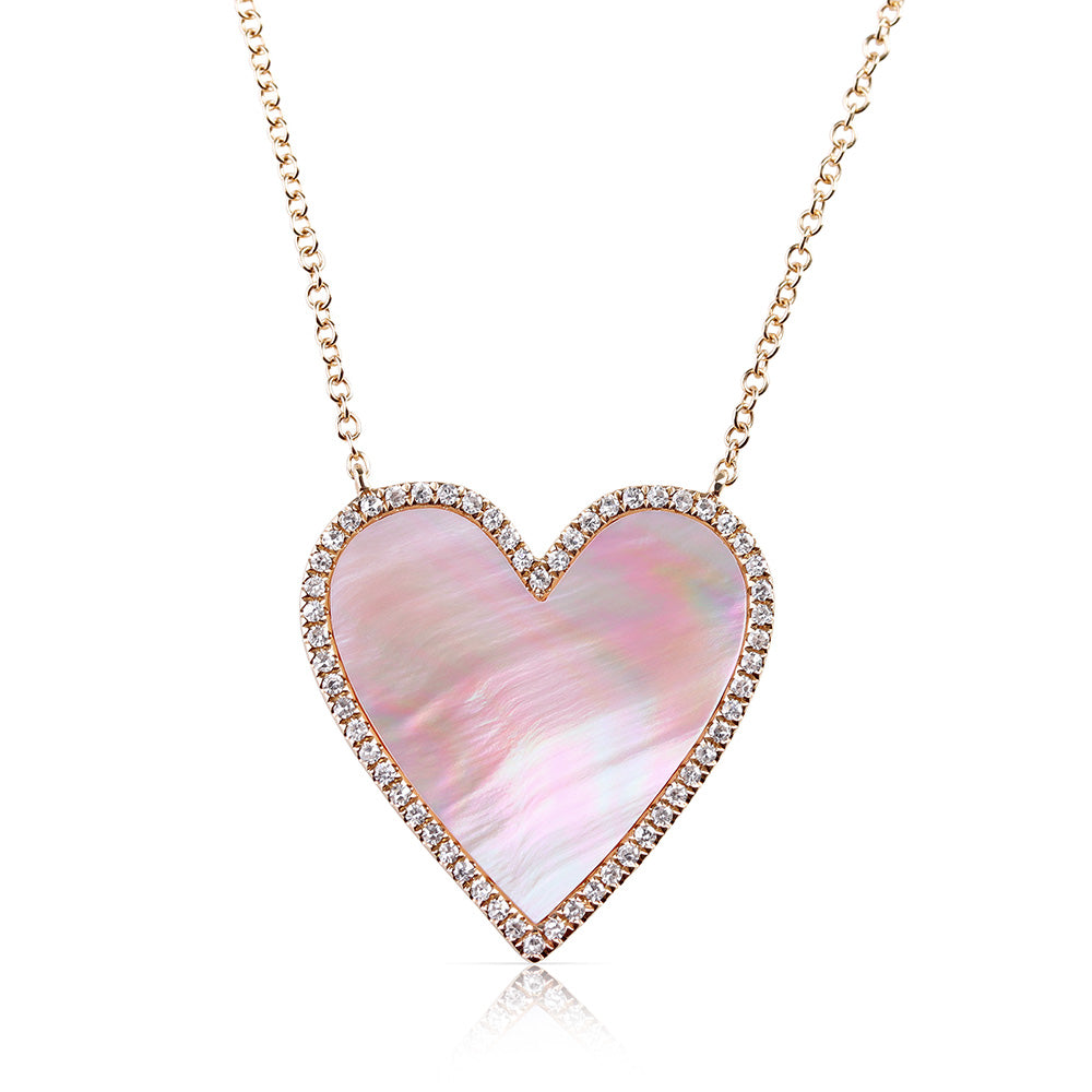 MOTHER OF PEARL AND DIAMOND HEART NECKLACE