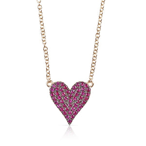 DOUBLE SIDED RUBY AND DIAMOND HEART NECKLACE