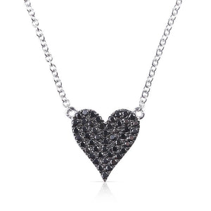 IN STOCK - REVERSIBLE WHITE AND BLACK DIAMOND HEART NECKLACE