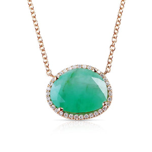 IN STOCK - EMERALD PENDANT NECKLACE WITH PAVÉ DIAMOND SURROUND