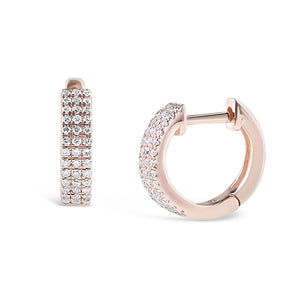 ROSE GOLD TRIPLE ROW DIAMOND HUGGIES