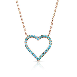 14K GOLD BEADED TURQUOISE HEART NECKLACE