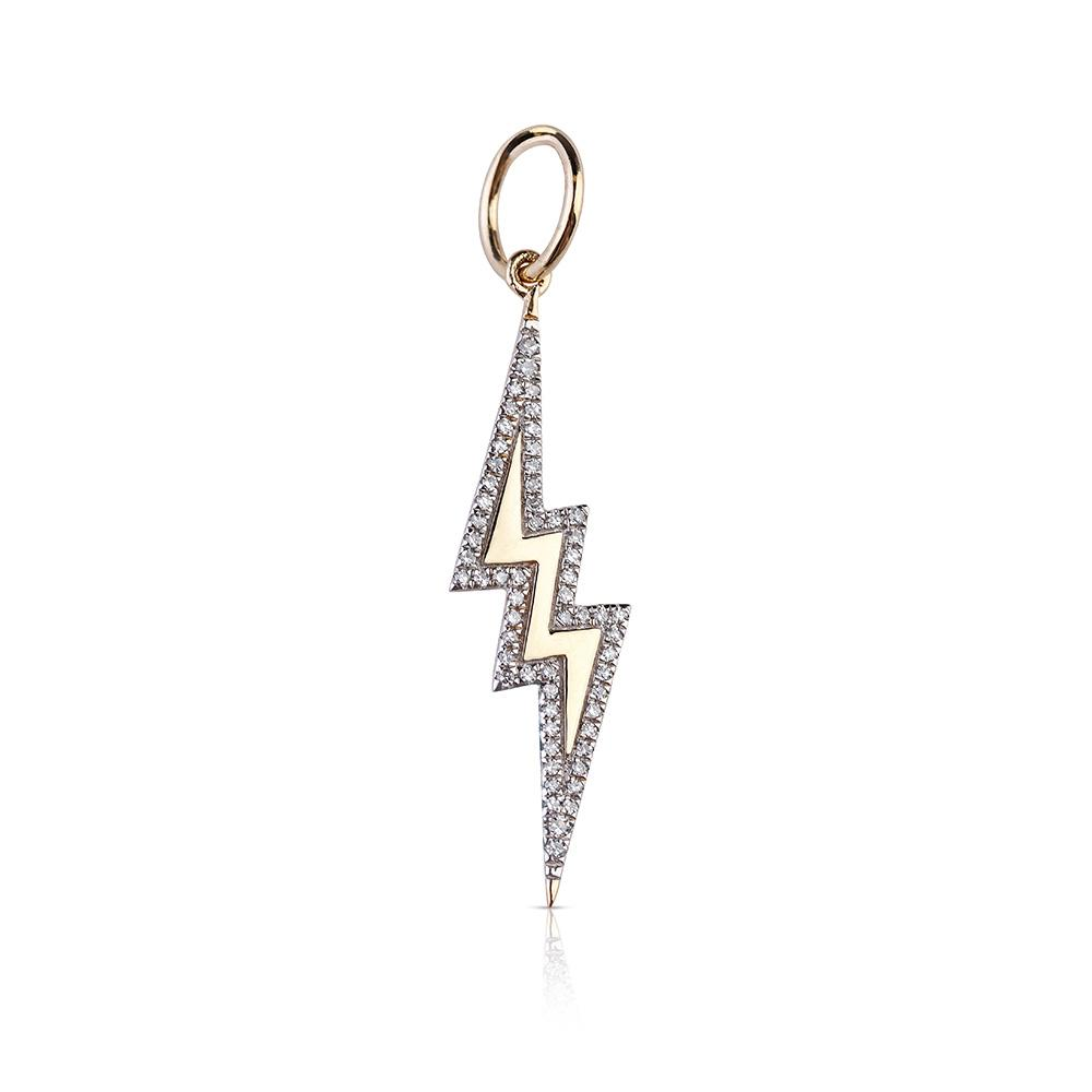 SOLID GOLD LIGHTNING BOLT WITH DIAMOND EDGING