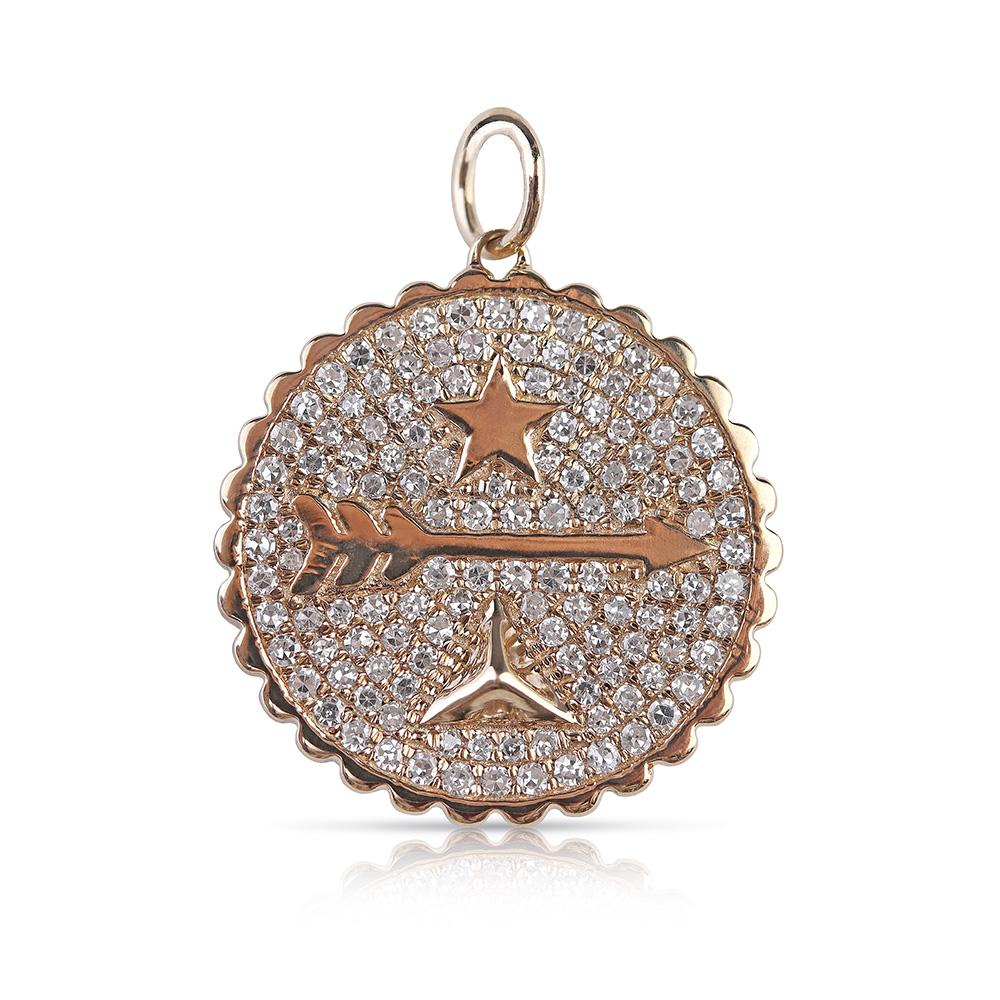 14K GOLD KARMA DIAMOND ARROW TALISMAN