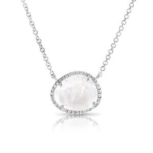 14K WHITE GOLD MOONSTONE NECKLACE WITH PAVÉ DIAMOND SURROUND