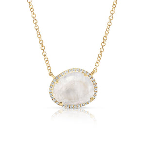 14K gold round moonstone with pave diamond surround