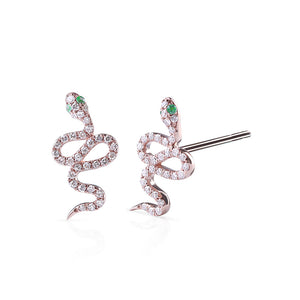 ROSE GOLD DIAMOND AND EMERALD SNAKE STUDS