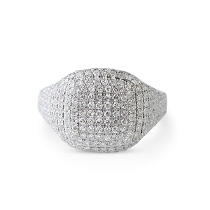 WHITE GOLD DIAMOND SIGNET RING