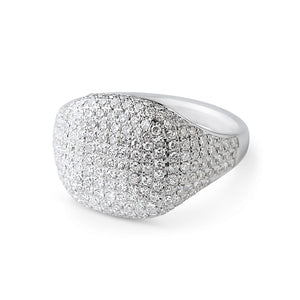 WHITE GOLD WHITE DIAMOND SIGNET RING