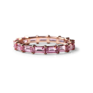 PINK SAPPHIRE BAGUETTE ETERNITY BAND