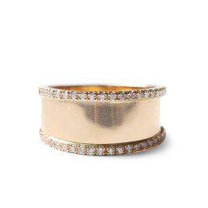 GOLD WITH DIAMOND EDGING TAPERED CIGAR BAND RING