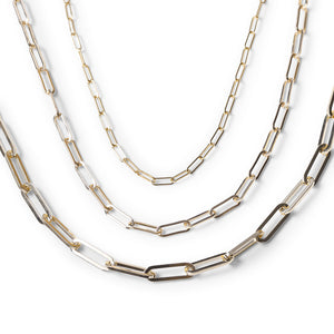 SIGNATURE PAPERCLIP CHAIN (TOP) VS MEDIUM PAPERCLIP CHAIN VS CHUNKY LUXE PAPERCLIP CHAIN (BOTTOM)