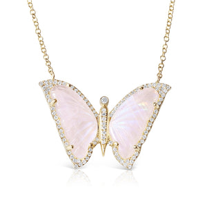 14K GOLD MOONSTONE AND DIAMOND BUTTERFLY NECKLACE