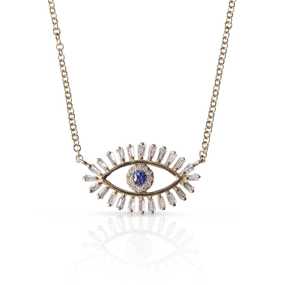 BAGUETTE DIAMOND EVIL EYE NECKLACE WITH BLUE SAPPHIRE EYE