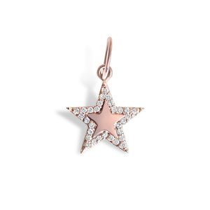 14K Gold Mini Star Charm with Diamond Border