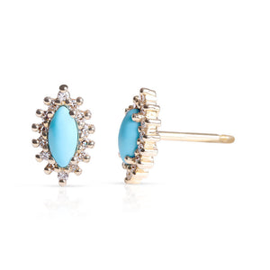 DIAMOND AND TURQUOISE MARQUIS EARRINGS