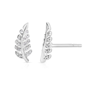 14K GOLD DIAMOND FERN EARRINGS