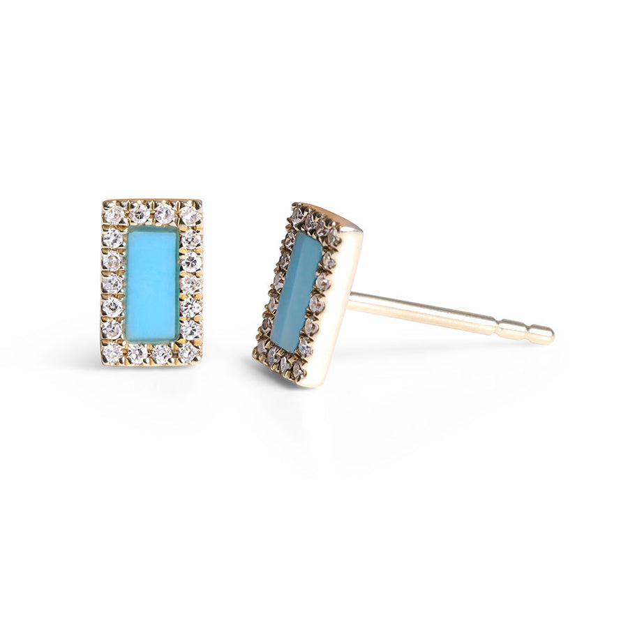 RECTANGLE DIAMOND AND TURQUOISE EARRINGS
